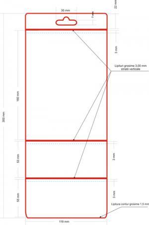 Husa etichete 3 buzunare 115 x 160+55+55 mm