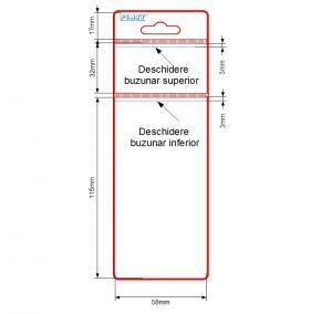 Husa etichete 2 buzunare  58 x  30+115 mm